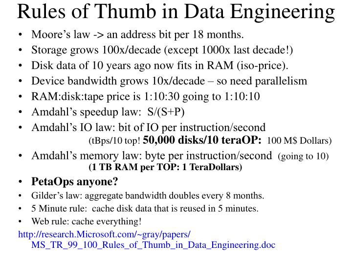 Rules of Thumb in Data Engineering
