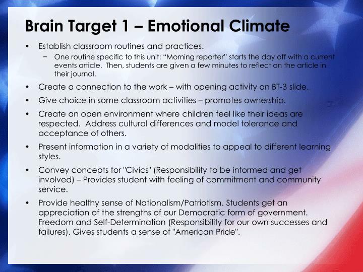 Brain Target 1 – Emotional Climate
