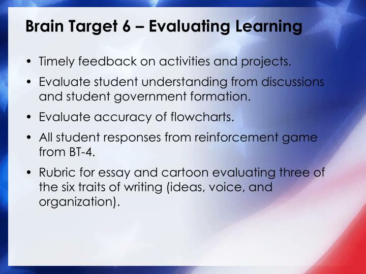 Brain Target 6 – Evaluating Learning