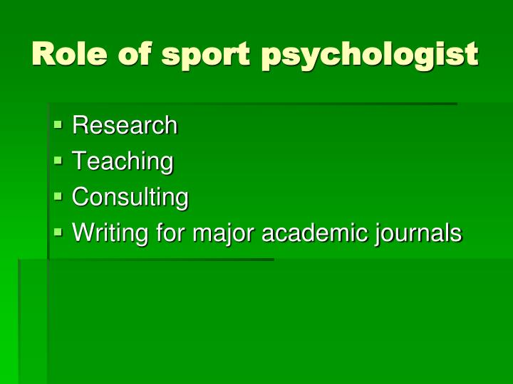 Role of sport psychologist