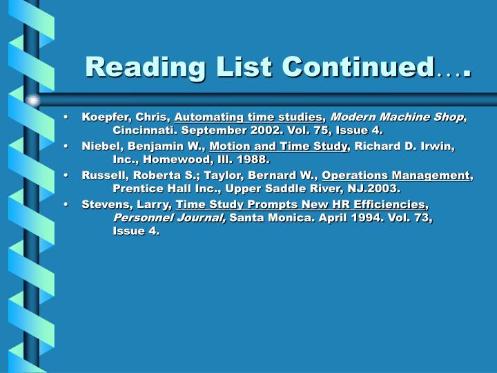 Reading List Continued