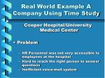 real world example a company using time study