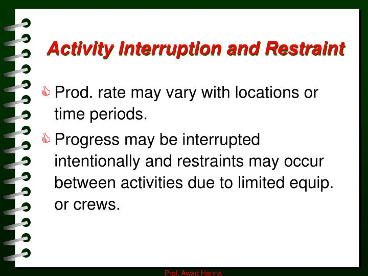 Activity Interruption and Restraint