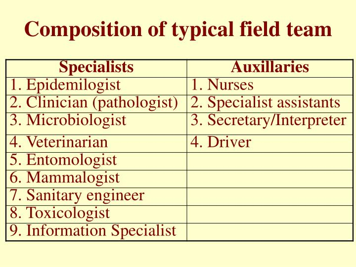 Composition of typical field team
