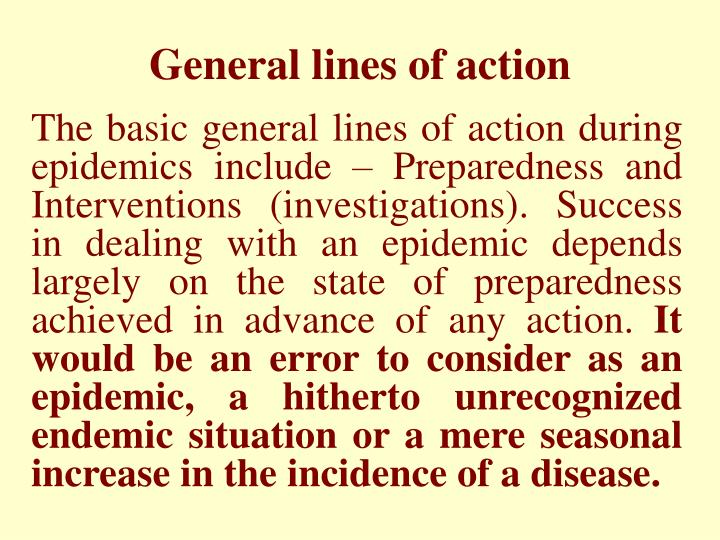 General lines of action