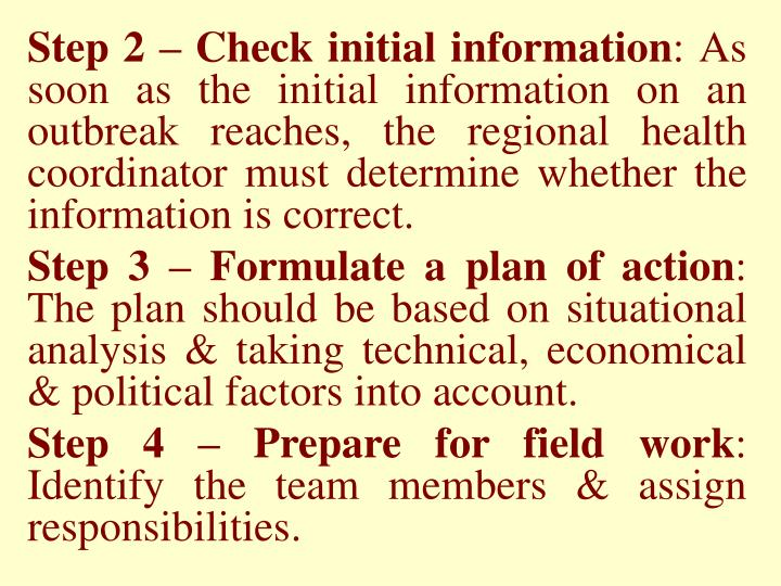 Step 2 – Check initial information
