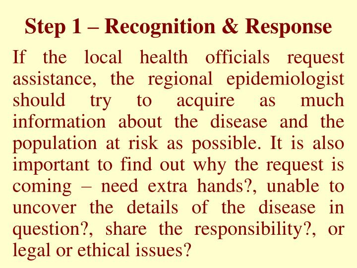 Step 1 – Recognition & Response