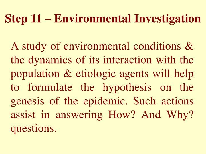 Step 11 – Environmental Investigation