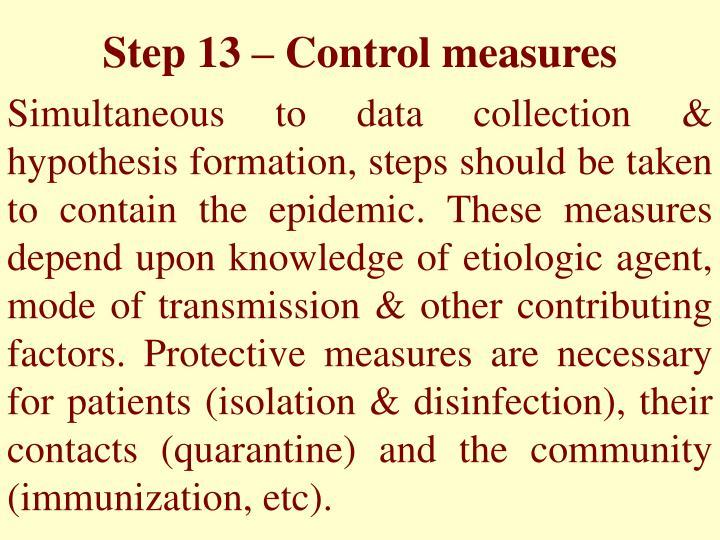 Step 13 – Control measures