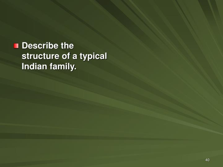 Describe the structure of a typical Indian family.