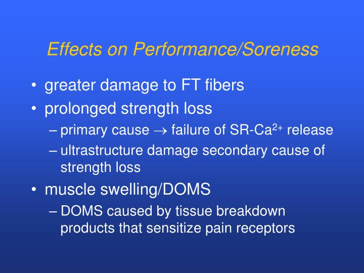 Effects on Performance/Soreness