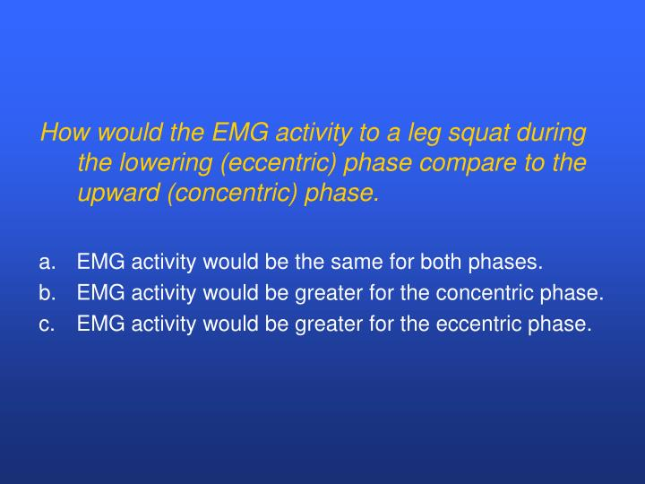 How would the EMG activity to a leg squat during the lowering (eccentric) phase compare to the upward (concentric) phase.