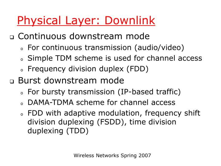 Physical Layer: Downlink