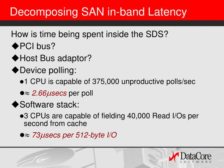 Decomposing SAN in-band Latency