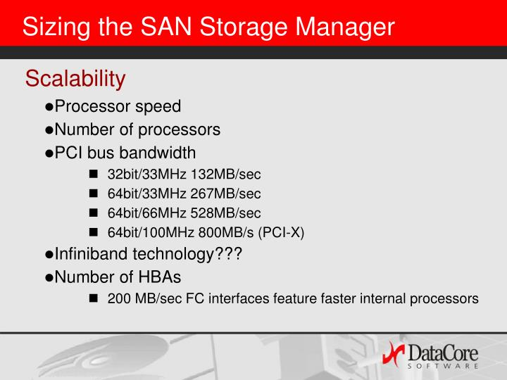 Sizing the SAN Storage Manager