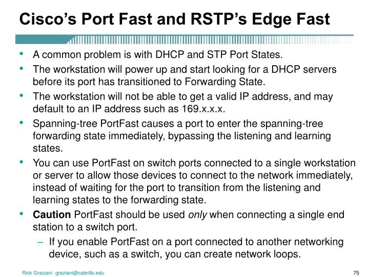 Cisco's Port Fast and RSTP's Edge Fast