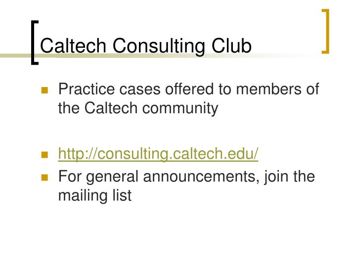 Caltech Consulting Club