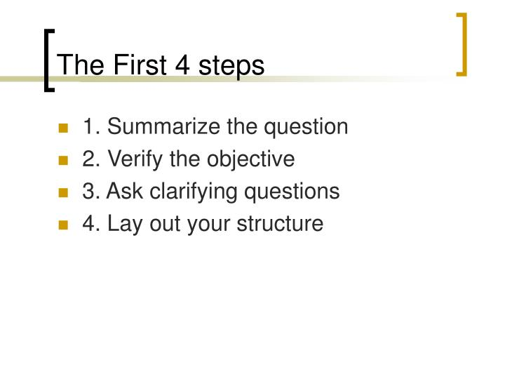 The First 4 steps
