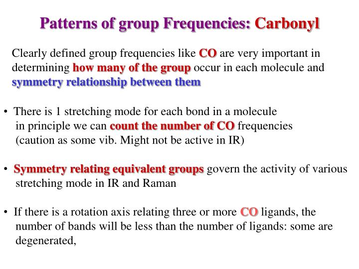 Patterns of group Frequencies: