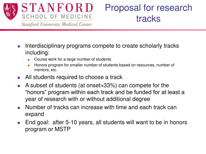 Proposal for research tracks