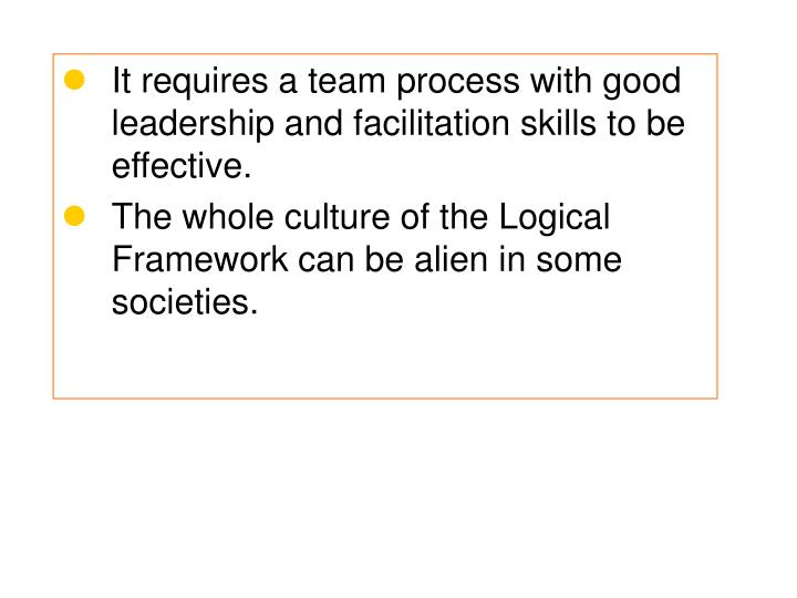 It requires a team process with good leadership and facilitation skills to be  effective.