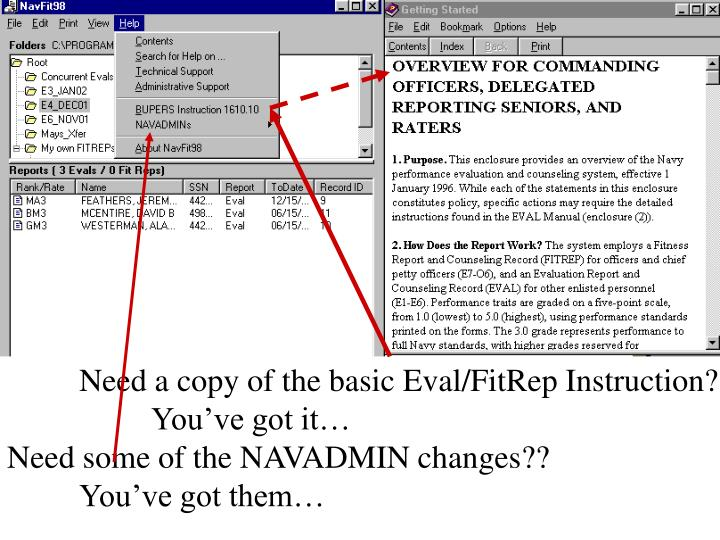 Need a copy of the basic Eval/FitRep Instruction?
