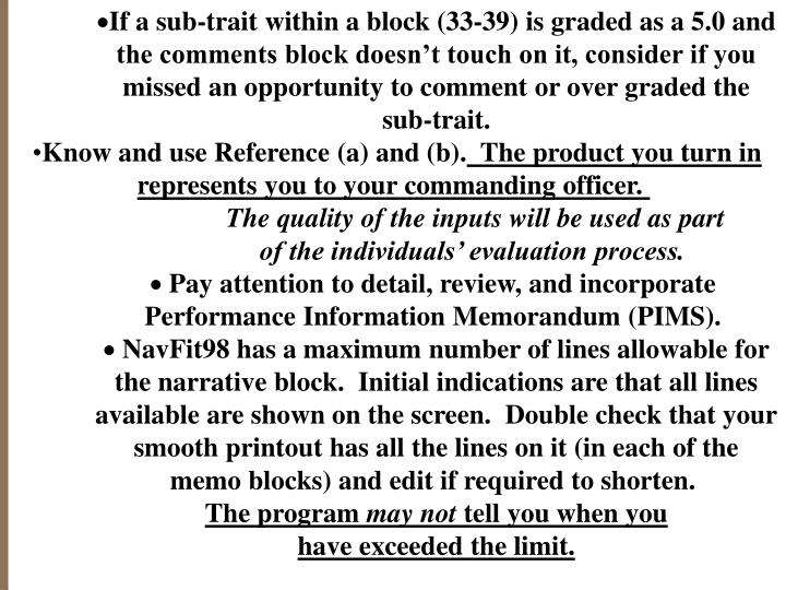 If a sub-trait within a block (33-39) is graded as a 5.0 and