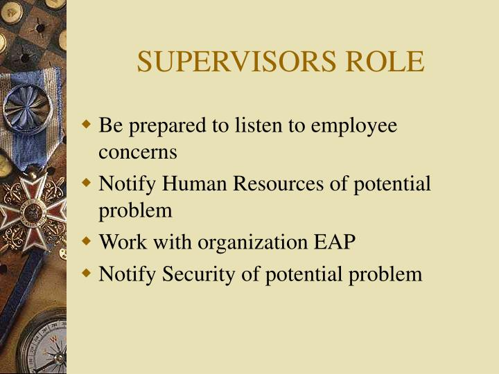 SUPERVISORS ROLE