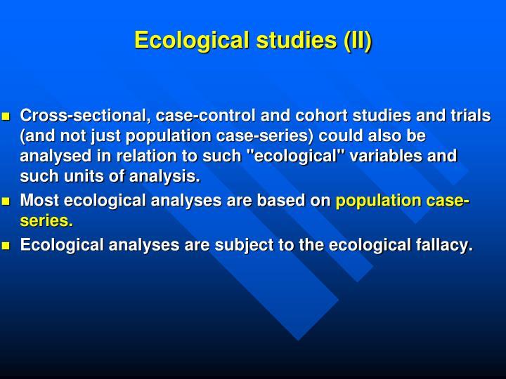 Ecological studies: advantages and disadvantages | The BMJ