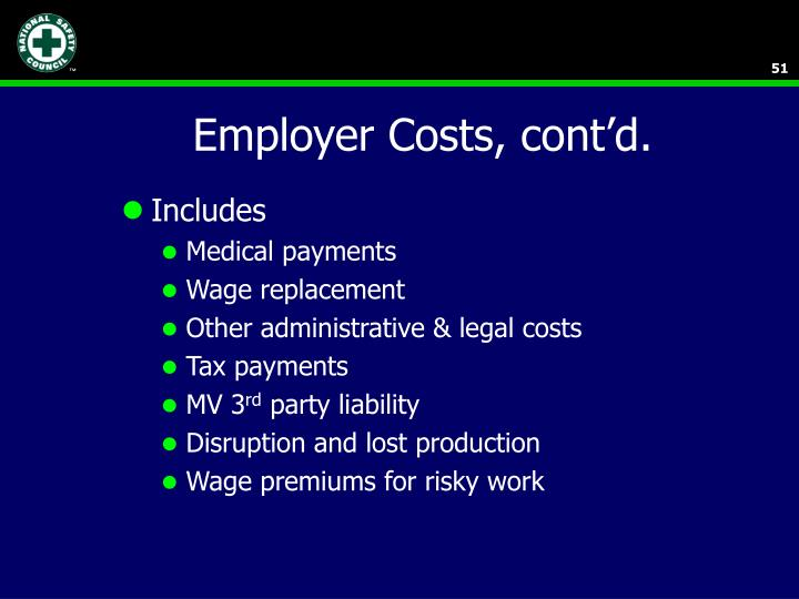 Employer Costs, cont'd.