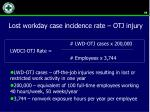 lost workday case incidence rate otj injury