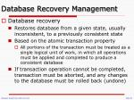database recovery management