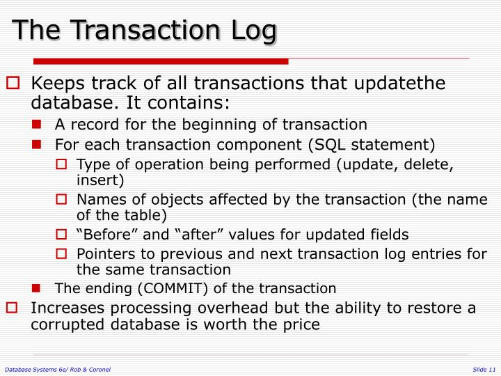The Transaction Log