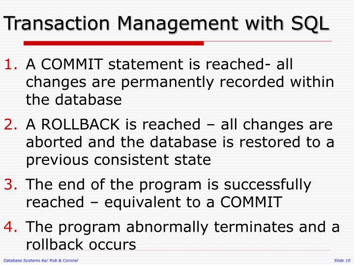 Transaction Management with SQL