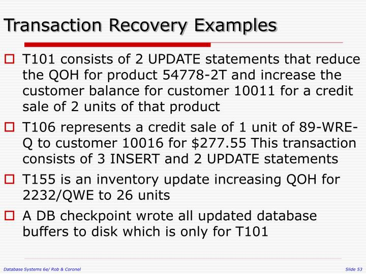 Transaction Recovery Examples