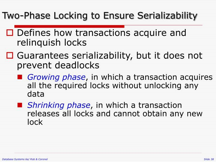 Two-Phase Locking to Ensure Serializability