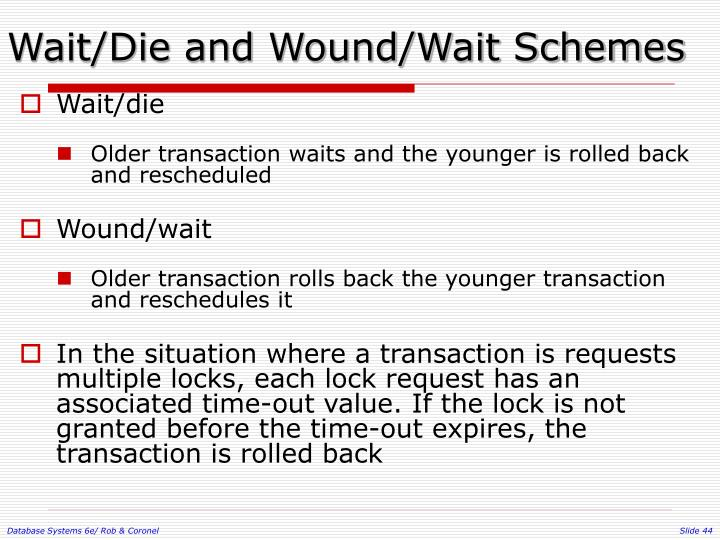 Wait/Die and Wound/Wait Schemes