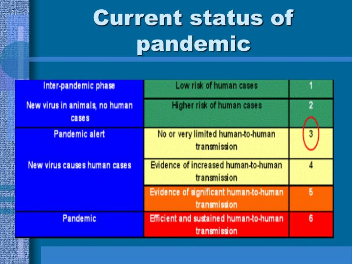 Current status of pandemic