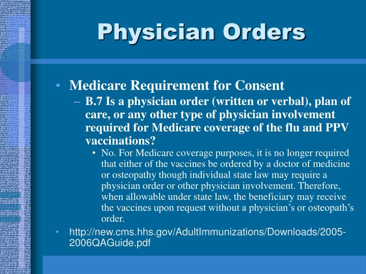 Physician Orders