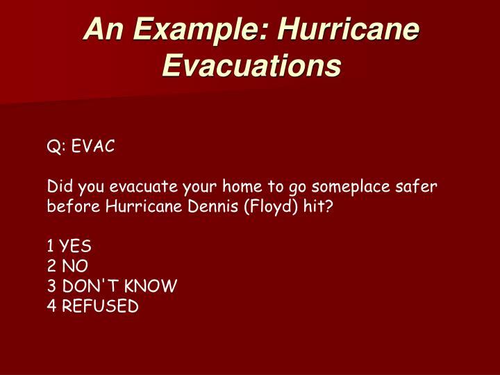 An Example: Hurricane Evacuations