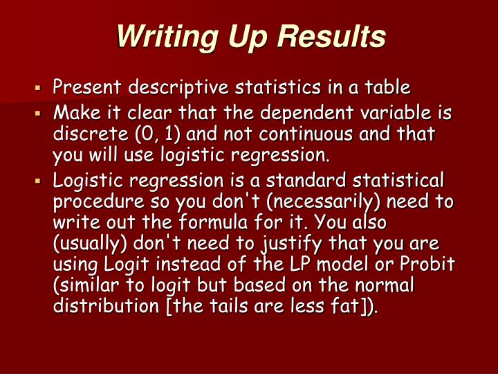 Writing Up Results