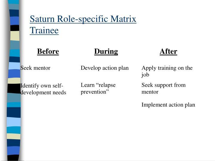 Saturn Role-specific Matrix