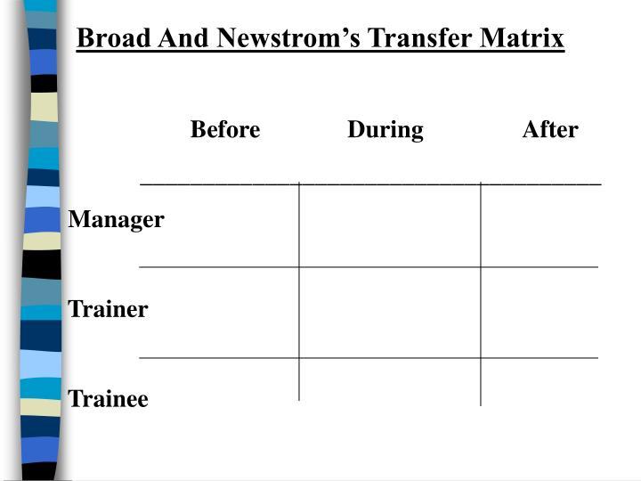Broad And Newstrom's Transfer Matrix