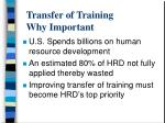 transfer of training why important