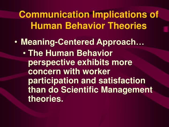 Communication Implications of Human Behavior Theories