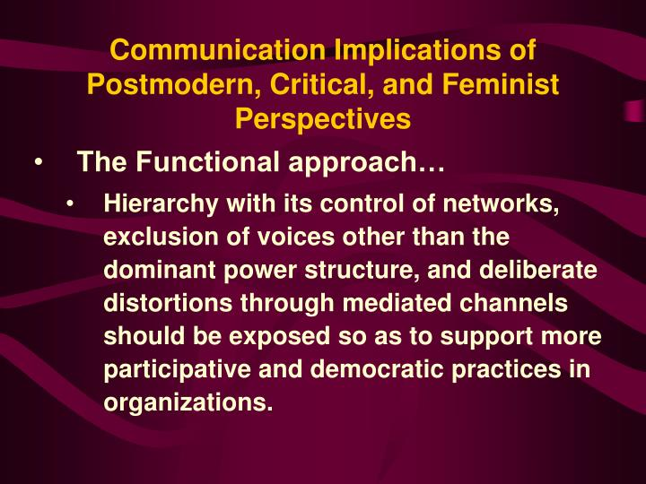 Communication Implications of Postmodern, Critical, and Feminist Perspectives