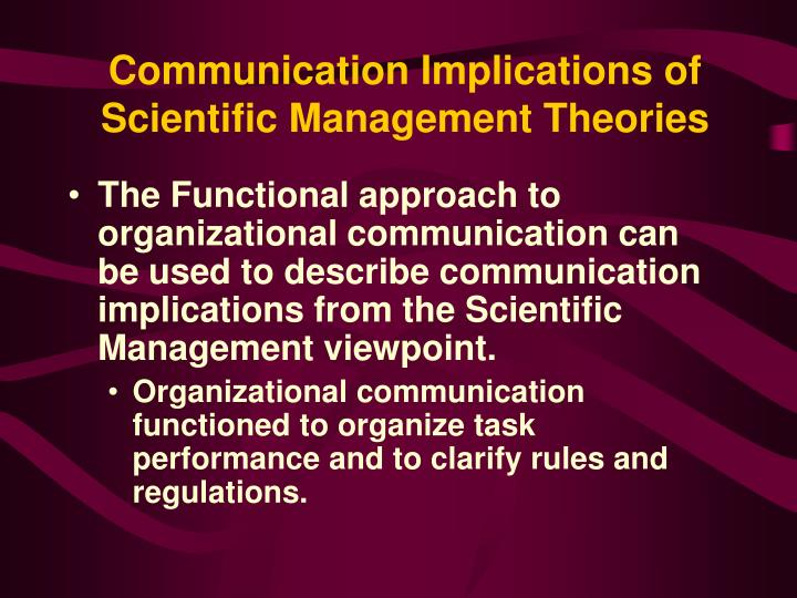 Communication Implications of Scientific Management Theories
