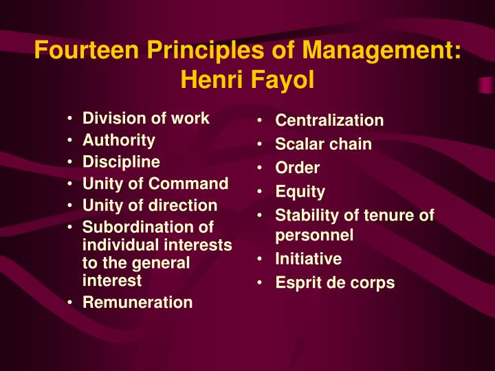 henri fayols 14 principles of management Management principles developed by henri fayol: division of work: work  should be divided among individuals and groups to ensure that.
