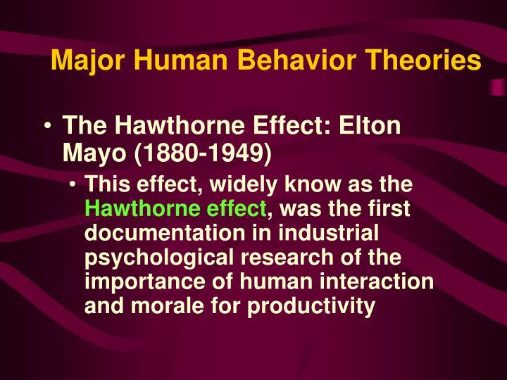 Major Human Behavior Theories