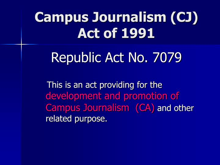 Campus journalism cj act of 1991